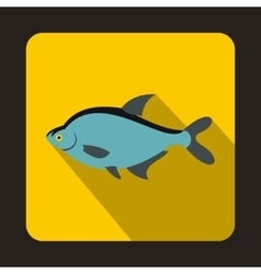 Blue fish icon in flat style vector image vector image