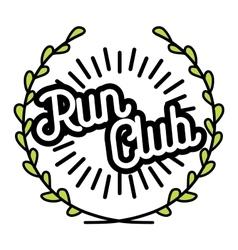 Color vintage run club emblem vector image