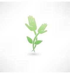 Eco hand icon vector image