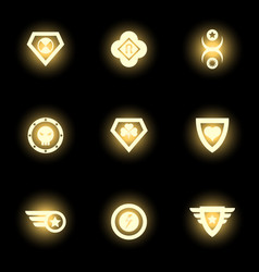 Superhero emblem logo or icons on black backdrop vector