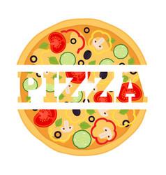 vegetarian pizza margherita logo label vector image