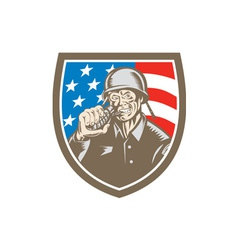 World War Two Soldier American Grenade Crest vector image vector image
