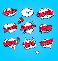 comic book cartoon explosion set boom bang vector image