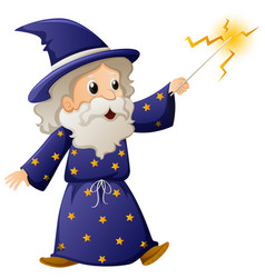 old wizard with magic wand vector image vector image