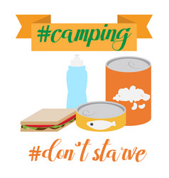 outdoor cooking canned food and camping cooking vector image