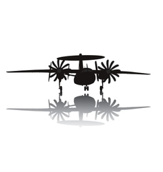 Awacs aircraft silhouette vector image vector image