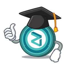 Graduation zilliqa coin character cartoon vector