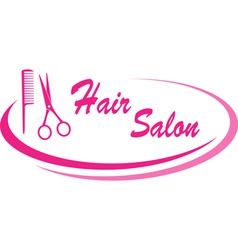 hair salon sign with design elements vector image