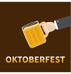 Oktoberfest Hand and clink beer glasses mug with vector image vector image