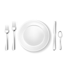 realistic table setting arrangement fork spoon vector image vector image