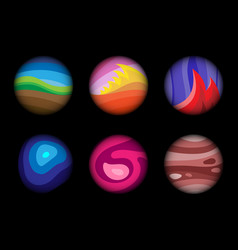 set of the fantastic worlds vector image