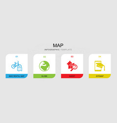 4 map filled icons set isolated on infographic vector