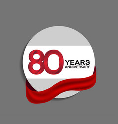 80 years anniversary design in circle red ribbon vector