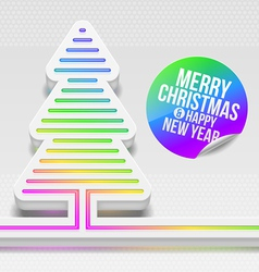 Abstract Christmas tree with multicolor decor vector image