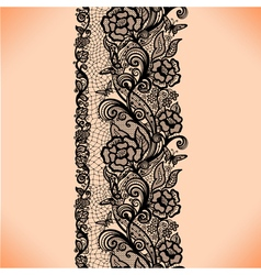 Abstract seamless lace pattern with flowers vector