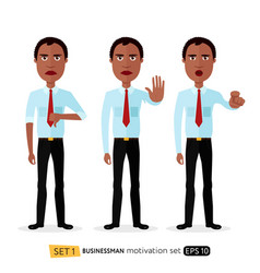 african american business man showing stop vector image