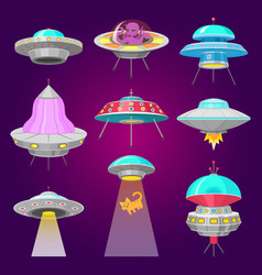 alien spaceships set ufo unidentified flying vector image