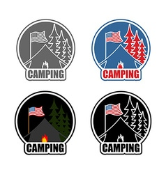 American Camping logo set day and night Emblem for vector