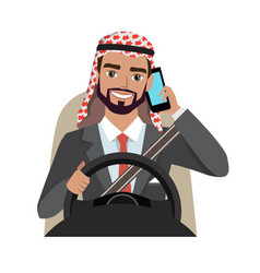 arab businessman driving a car talking on the vector image
