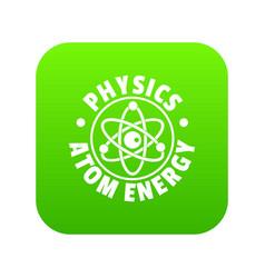 atom energy icon green vector image