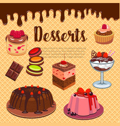 bakery shop pastry desserts wafer poster vector image