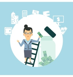Bank employee to keep money in the glass jar vector