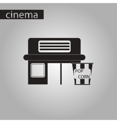 Black and white style icon building cinema popcorn vector