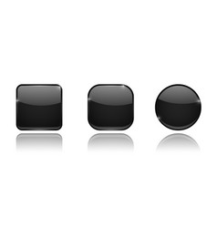 black glass 3d buttons round and square icons vector image