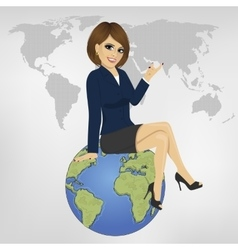 businesswoman sitting on globe showing something vector image