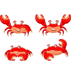 Cartoon crab collection set isolated vector