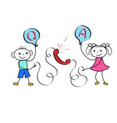 cartoon customer calling to user hotline operator vector image
