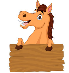 cartoon funny donkey with blank board sign vector image