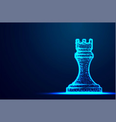 chess rook wireframe polygon blue frame structure vector image