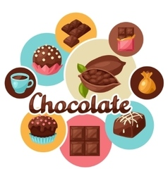 Chocolate background with various tasty sweets and vector