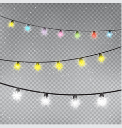 christmas color snowflake lamps template vector image