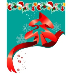 christmas greeting card with red ribbon vector image