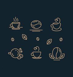 coffee icon set template for logo line design vector image