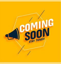 Coming soon background with megaphone design vector