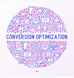 conversion optimization concept in circle vector image