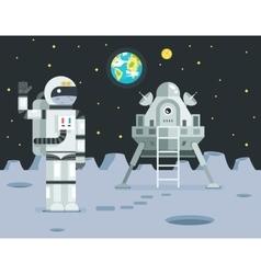 Cosmonaut Astronaut Landing Planet Lander Icon on vector