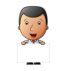 cute cartoon businessman holding a blank sign vector image