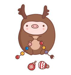 cute hand-drawn cartoon pig in deer costume vector image