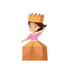 cute little girl playing as princess lovely kid vector image