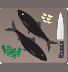Delicious fresh fish on a wooden board vector image