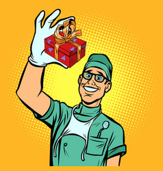 dentist with a gift new tooth implant vector image
