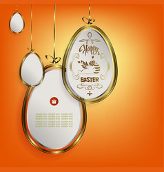 Design with easter eggs in white with a gold vector