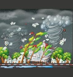 Destructive tornado city scene vector