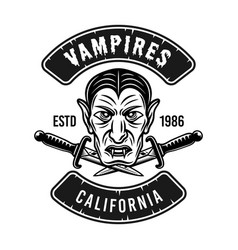 Dracula head emblem badge or t-shirt print vector