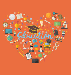 educationknowlege icon set in heart symbol in vector image