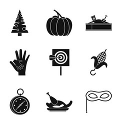 Family legend icons set simple style vector
